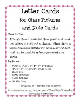Letter Cards for Class Photos Thank You Welcome Holidays Get Well