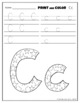 FREE Letter Cc Printing and Pattern Coloring Worksheets