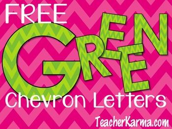 Letter Clip Art ~ Free ~ Green Chevron Letters ~ Alphabet