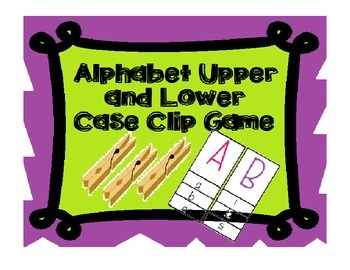Letter Clip Cards Upper and Lower case Matching