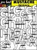 Letter Clipart Uppercase & Lowercase {Bundle-Neon Mustaches}