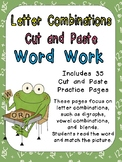 Letter Combinations Cut and Paste Word Work- Great for Kindergarten & 1st Grade