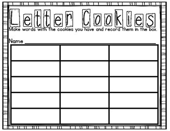 Letter Cookie Recording Sheet