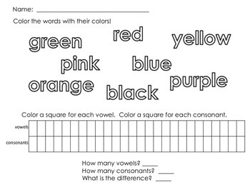 Letter Counting with Color Words