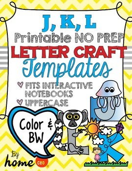 Letter Craft Templates J, K, L - NO PREP Color and BW