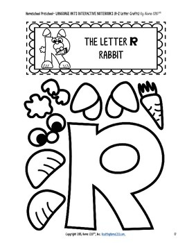 Letter Craft Templates P, Q, R - NO PREP Color and BW