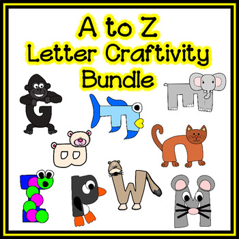 Letter Craftivity Bundle - A to Z - Zoo Phonics Inspired - Color & BW Versions