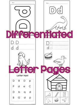 Letter D Unit - - Differentiated Letter Writing Pages and Activities