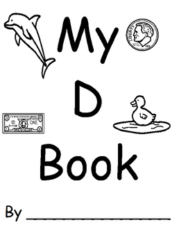 image relating to Letter D Printable named Letter D E book (Printable BW replica with tracing letter and terms