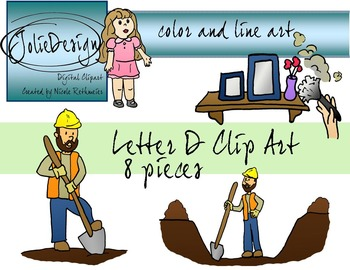 Letter D Clip Art - Color and Line Art 8 pc set