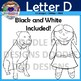 Letter D Clip Art (Doll, Duck, Dress, Donut, Dolphin, Dog)