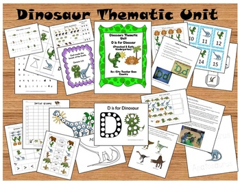 Letter D - Dinosaurs Thematic Unit - Preschool & Early Kinder (51 pages)