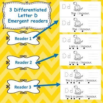 Letter D : Emergent Readers/ centers/ worksheets