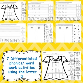 Letter D activities (emergent readers, word work worksheets, centers)
