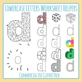 Letter D (Lowercase) Worksheet Helper Clip Art Set For Commercial Use