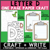 Letter D One Page Paper Crafts - Donut and Dinosaur