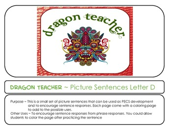 Letter D Picture Sentences for PECS or Early Readers