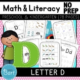 Letter D Math & Literacy Alphabet Activities NO PREP {Color & BW set included}