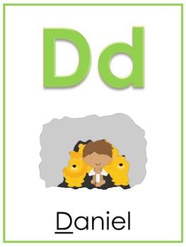 Letter D Printable Bible Alphabet Poster. Preschool-Kindergarten Phonics.