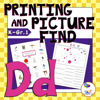 Letter Dd Printing and Picture Find Worksheets