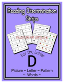 Letter D Reading Discrimination Strips for Fluency and Letter Recognition