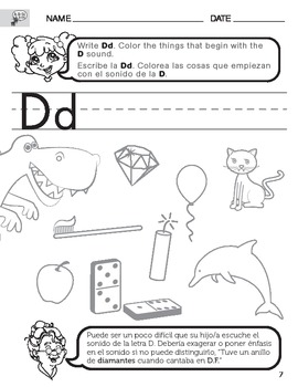 letter d sound worksheet with instructions translated into spanish for parents. Black Bedroom Furniture Sets. Home Design Ideas