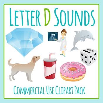 Letter D Sounds Clip Art Pack for Commercial Uses