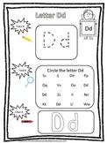 "Letter ""D"" Trace it, Find it, Color it.  Preschool printable worksheet. Daycare."