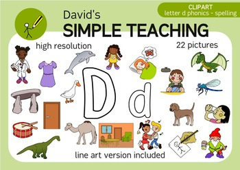 Letter D phonics - spelling clipart with free preview