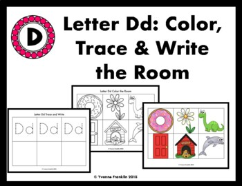 Letter Dd Color, Trace & Write the Room
