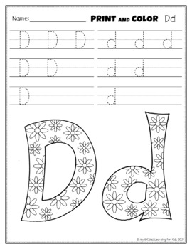 Letter Dd Printing and Pattern Coloring Worksheets