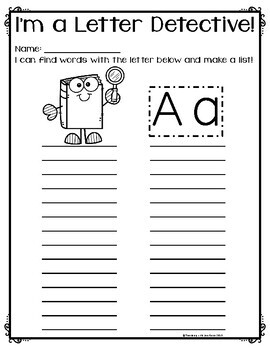 Write the Room: Letter Detective {26 letter worksheets - grayscale version}