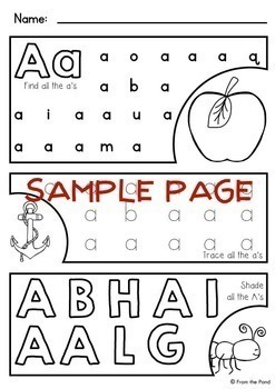 alphabet letter worksheets by from the pond teachers pay teachers. Black Bedroom Furniture Sets. Home Design Ideas