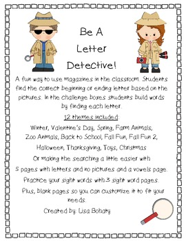 find a letter letter detective by robinson tpt letter detective using magazines to learn by bohaty 335