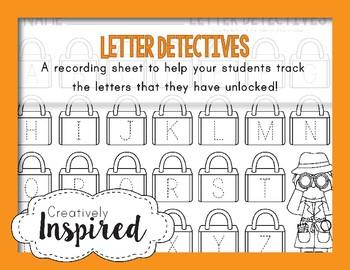 Letter Detectives  - Lakeshore Alphabet Learning Locks Recording Sheet
