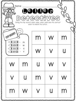 letter detectives letter discrimination worksheets by kindermolly. Black Bedroom Furniture Sets. Home Design Ideas