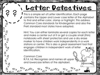Letter Detectives- Letter Recognition Activity