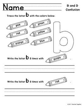 Letter Discrimination Worksheets b and d