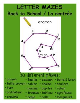 Letter Dot-to-Dot - Back to School / La rentrée
