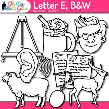 Letter E Alphabet Clip Art | Teach Phonics, Recognition, & Identification | B&W