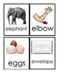 Letter E Beginning Sound Flash Cards