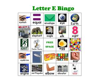Letter E Bingo