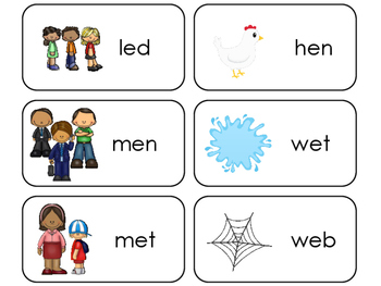 Letter 'E' CVC Picture and Word Printable Flashcards. Preschool-Kindergarten ELA
