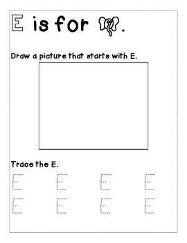 Letter E Color and Trace AlphaBook