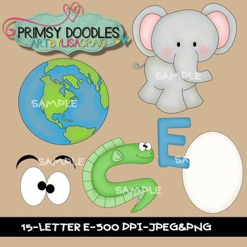 Letter E Early Learning Clipart