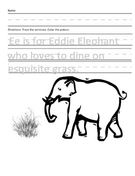 Letter E For Elephant Handwriting Practice And Questions