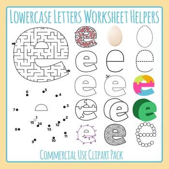 Letter E (Lowercase) Worksheet Helper Clip Art Set For Commercial Use