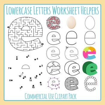 Letter E (Lowercase) Worksheet Helper Clip Art Set For Commercial Use