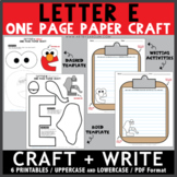 Letter E One Page Paper Crafts - Elephant and Elmo