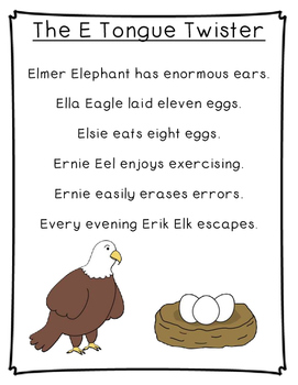 Letter E Poetry Kindergarten & First Grade